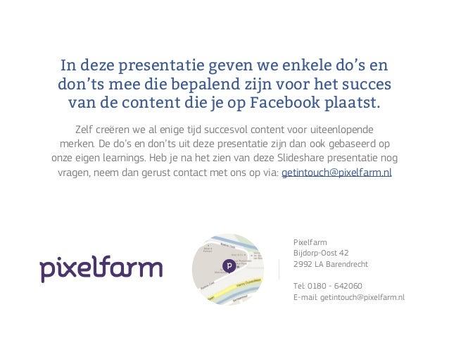 Do's en don'ts voor succesvolle Facebook content Slide 2