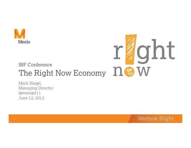 Venture Right1  Venture RightIBF ConferenceThe Right Now EconomyMark Siegel,Managing Director@msiegel11June 12, 2013