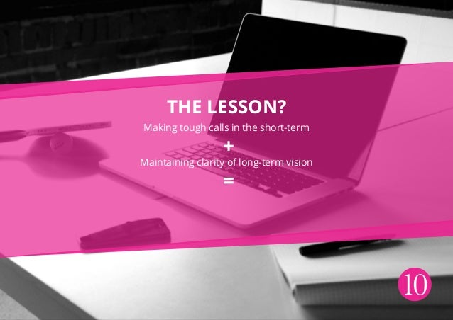 10 The lesson? Making tough calls in the short-term Maintaining clarity of long-term vision = +