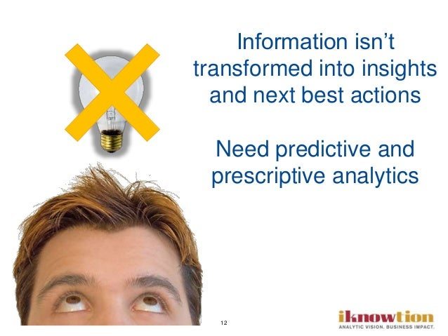 12 Information isn't transformed into insights and next best actions Need predictive and prescriptive analytics