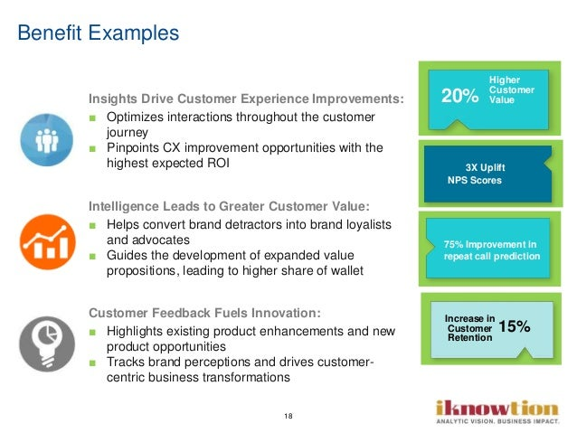 18 Benefit Examples Insights Drive Customer Experience Improvements: ■ Optimizes interactions throughout the customer jour...