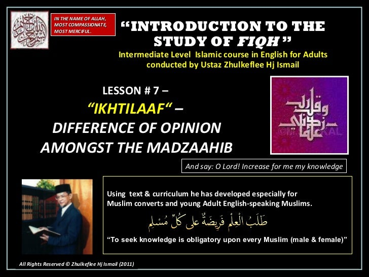 """"""" INTRODUCTION TO THE STUDY OF  FIQH  """" Intermediate Level  Islamic course in English for Adults conducted by Ustaz Zhulke..."""