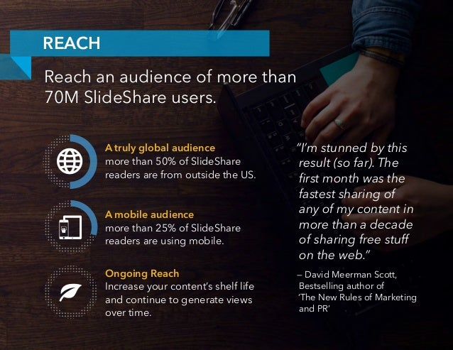 A truly global audience more than 50% of SlideShare readers are from outside the US. A mobile audience more than 25% of Sl...