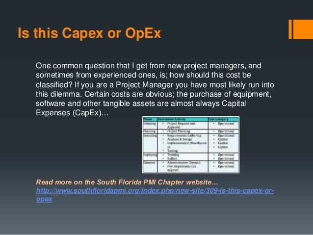 Is this Capex or OpEx One common question that I get from new project managers, and sometimes from experienced ones, is; h...