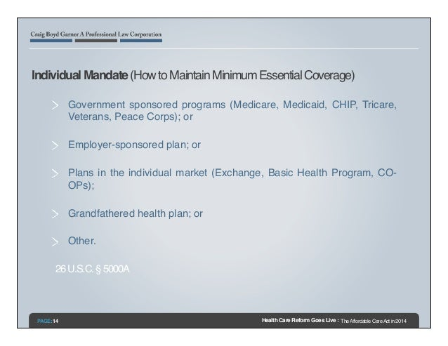 Health care reform goes live the affordable care act in 2014 for Minimum essential coverage plan design