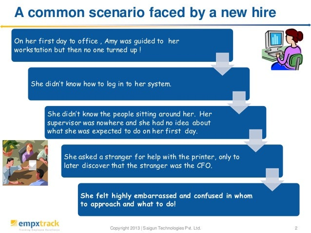 A common scenario faced by a new hire On her first day to office , Amy was guided to her workstation but then no one turne...