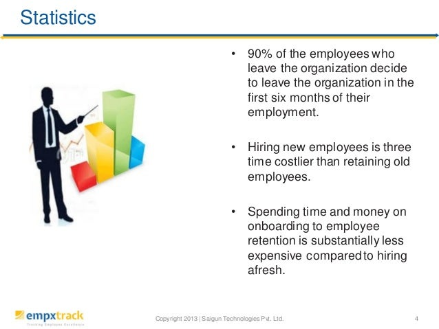 Statistics •  90% of the employees who leave the organization decide to leave the organization in the first six months of ...