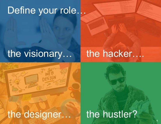 Define your role… the visionary… the hacker…. the designer… the hustler? 4