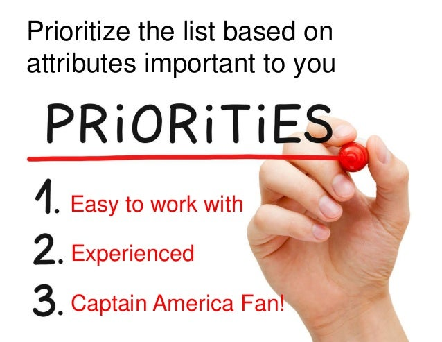 Prioritize the list based on attributes important to you 7 Easy to work with Captain America Fan! Experienced