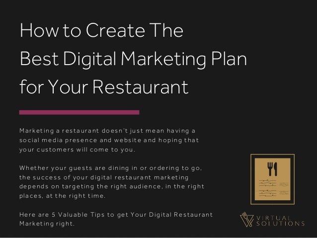 Marketing a restaurant doesn't just mean having a social media presence and website and hoping that your customers will co...