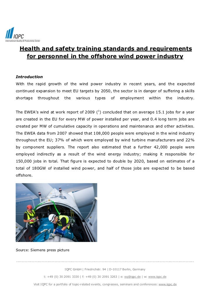 Health and safety training standards and requirements    for personnel in the offshore wind power industryIntroductionWith...