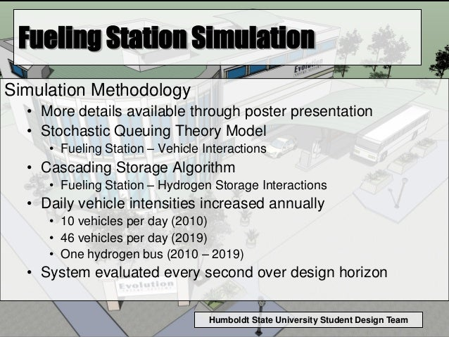 Humboldt State University Student Design Team Fueling Station Simulation Simulation Methodology • More details available t...