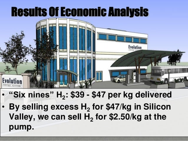 """Results Of Economic Analysis • """"Six nines"""" H2: $39 - $47 per kg delivered • By selling excess H2 for $47/kg in Silicon Val..."""