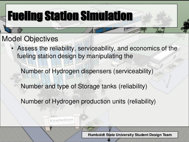 Humboldt State University Student Design Team Fueling Station Simulation Model Objectives • Assess the reliability, servic...