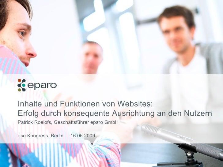 Inhalte und Funktionen von Websites:   Erfolg durch konsequente Ausrichtung an den Nutzern Patrick Roelofs, Geschäftsführe...