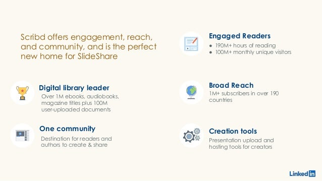 Digital library leader One community Over 1M ebooks, audiobooks, magazine titles plus 100M user-uploaded documents Scribd ...