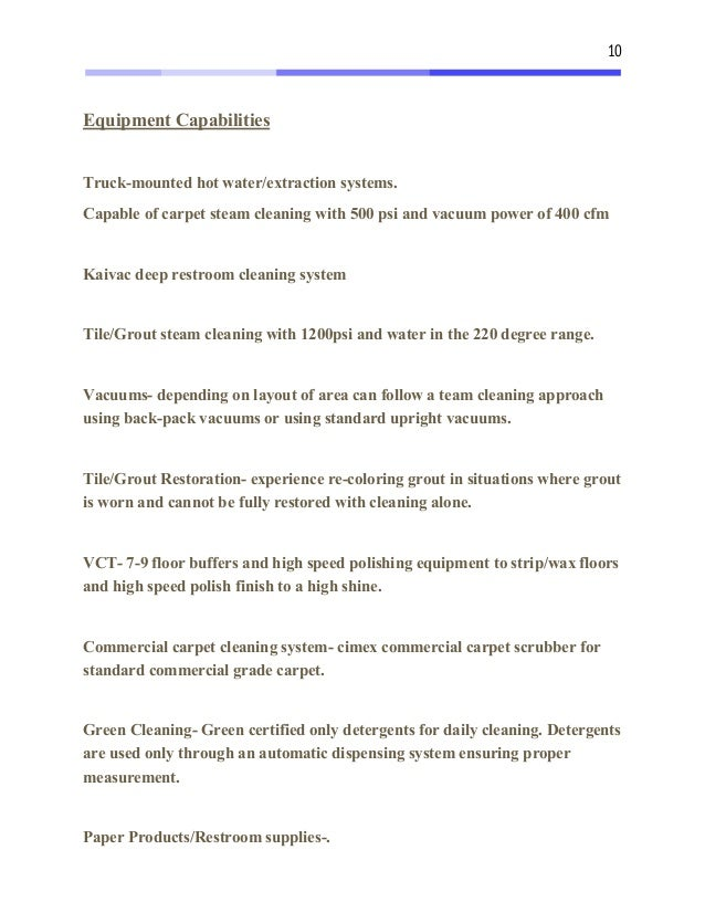 Sample Janitorial Proposal and Commercial Cleaning Estimate