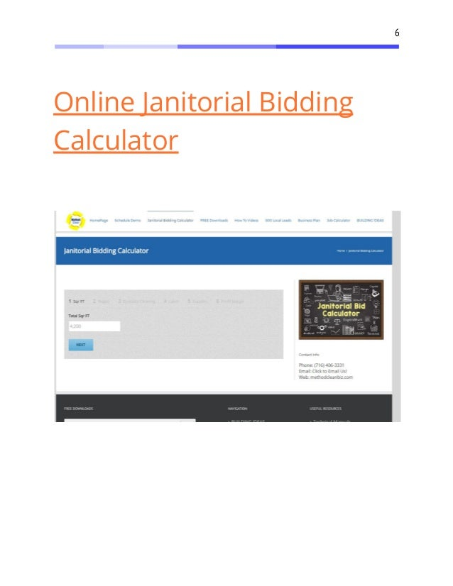 7 6 online janitorial bidding calculator