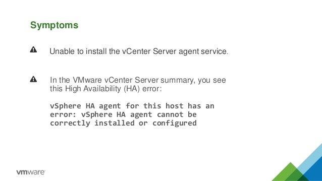 Vsphere ha agent for this host has an error