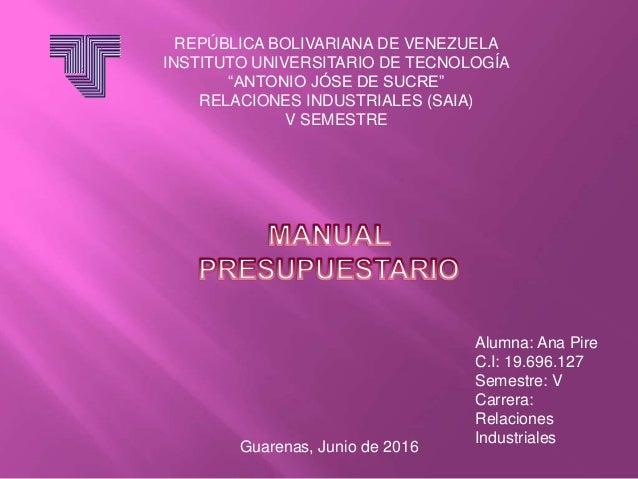 """REPÚBLICA BOLIVARIANA DE VENEZUELA INSTITUTO UNIVERSITARIO DE TECNOLOGÍA """"ANTONIO JÓSE DE SUCRE"""" RELACIONES INDUSTRIALES (..."""