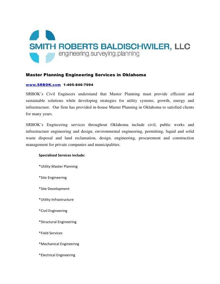 Master Planning Engineering Services in Oklahoma<br />www.SRBOK.com  1-405-840-7094<br />SRBOK's Civil Engineers understan...