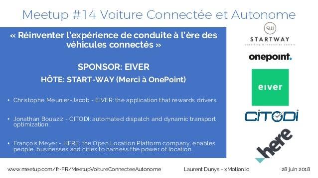 Meetup #14 Voiture Connectée et Autonome 28 juin 2018www.meetup.com/fr-FR/MeetupVoitureConnecteeAutonome Laurent Dunys - x...