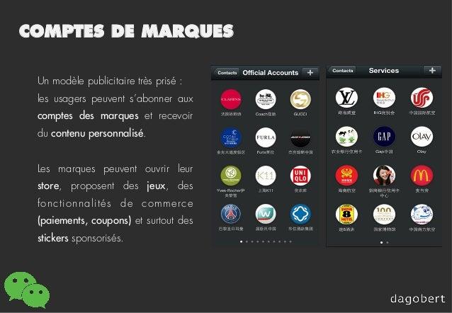 COMPTES DE MARQUES Un modèle publicitaire très prisé : les usagers peuvent s'abonner aux comptes des marques et recevoir d...