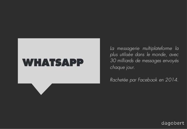 WHATSAPP La messagerie multiplateforme la plus utilisée dans le monde, avec 30 milliards de messages envoyés chaque jour. ...