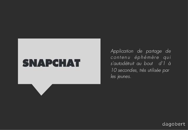 SNAPCHAT Application de partage de contenu éphémère qui s'autodétruit au bout d'1 à 10 secondes, très utilisée par les jeu...