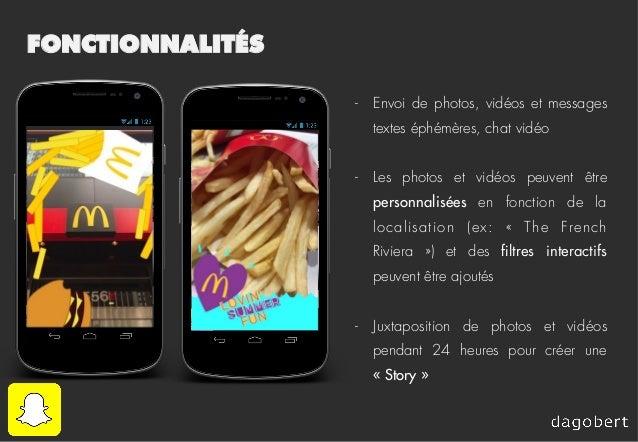 FONCTIONNALITÉS - Envoi de photos, vidéos et messages textes éphémères, chat vidéo - Les photos et vidéos peuvent être p...
