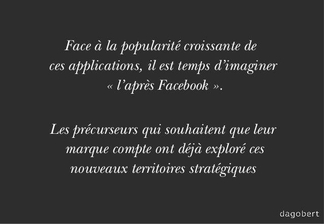 Face à la popularité croissante de ces applications, il est temps d'imaginer «l'après Facebook». Les précurseurs qui sou...