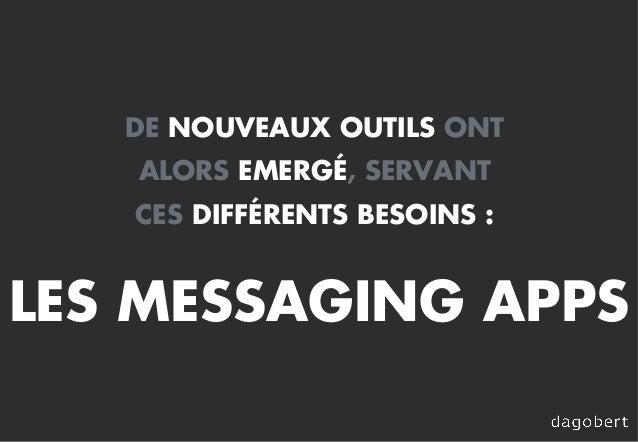 DE NOUVEAUX OUTILS ONT ALORS EMERGÉ, SERVANT CES DIFFÉRENTS BESOINS : LES MESSAGING APPS