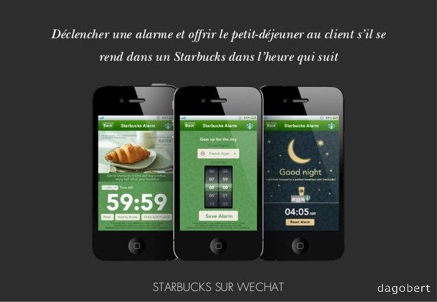 Déclencher une alarme et offrir le petit-déjeuner au client s'il se rend dans un Starbucks dans l'heure qui suit STARBUCKS...