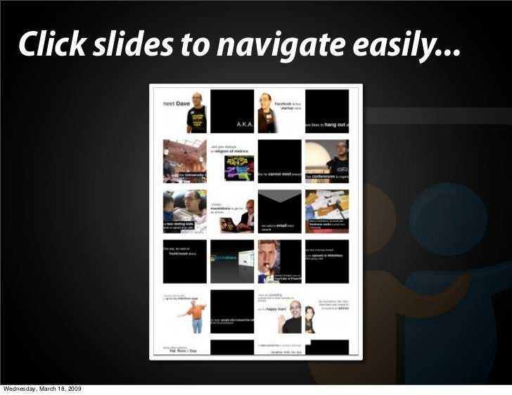 Click slides to navigate easily...     Wednesday, March 18, 2009