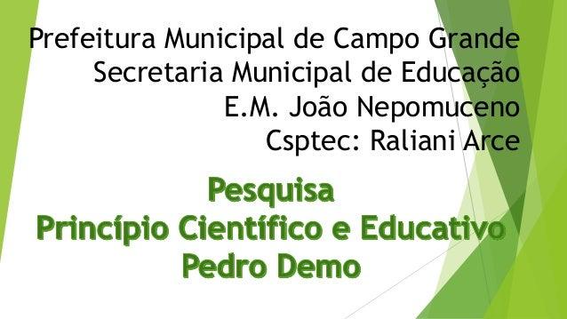 Prefeitura Municipal de Campo Grande Secretaria Municipal de Educação E.M. João Nepomuceno Csptec: Raliani Arce