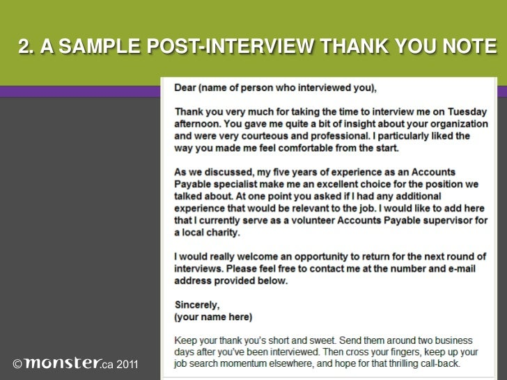 Thank You Note PostInterview