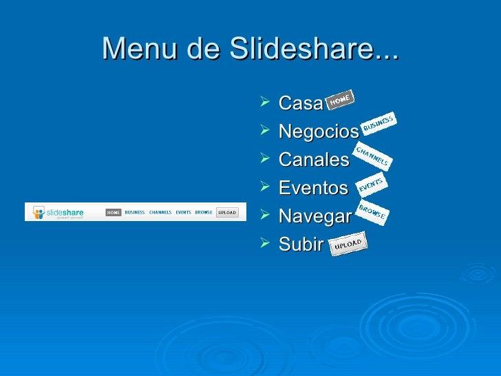 Menu de Slideshare... <ul><li>Casa </li></ul><ul><li>Negocios </li></ul><ul><li>Canales </li></ul><ul><li>Eventos </li></u...