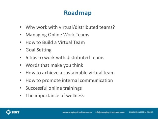 Roadmap • • • • • • • • • •  Why work with virtual/distributed teams? Managing Online Work Teams How to Build a Virtual Te...