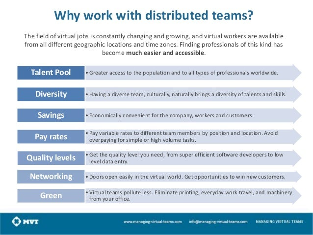 Why work with distributed teams? The field of virtual jobs is constantly changing and growing, and virtual workers are ava...