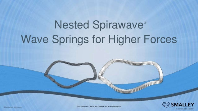 Nested Spirawave Wave Springs for Higher Forces ® © 2019 SMALLEY STEEL RING COMPANY. ALL RIGHTS RESERVED. Nestedsprings.com