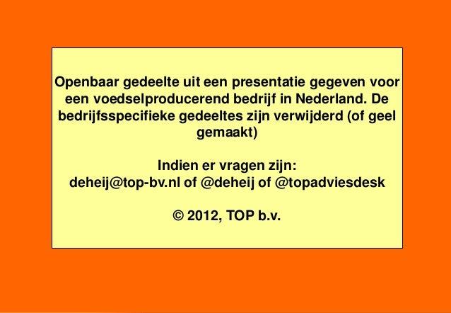 Openbaar gedeelte uit een presentatie gegeven voor een voedselproducerend bedrijf in Nederland. Debedrijfsspecifieke gedee...