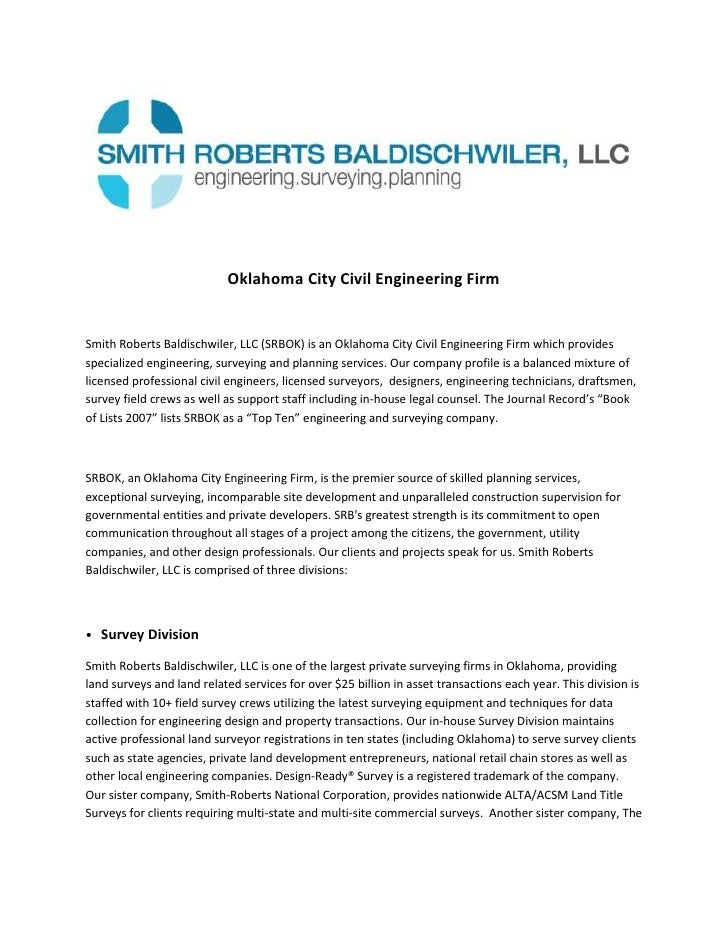 Oklahoma City Civil Engineering Firm<br />Smith Roberts Baldischwiler, LLC (SRBOK) is an Oklahoma City Civil Engineering F...