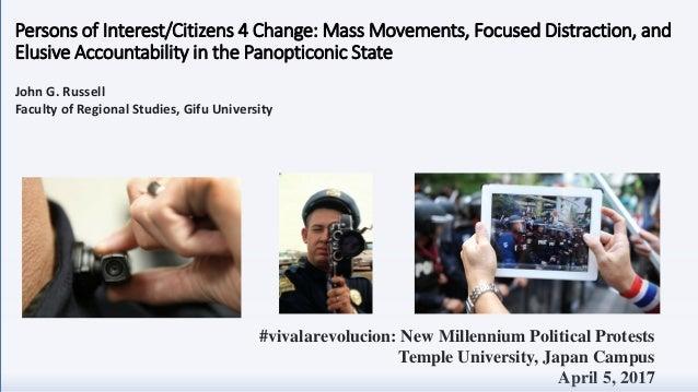 #vivalarevolucion: New Millennium Political Protests Temple University, Japan Campus April 5, 2017 John G. Russell Faculty...