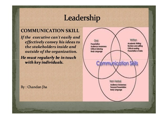COMMUNICATION SKILL If the executive can't easily and effectively convey his ideas to the stakeholders inside and outside ...