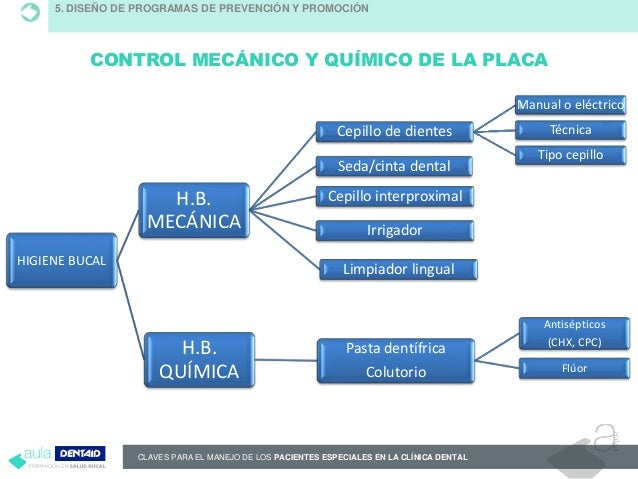 CLAVES PARA EL MANEJO DE LOS PACIENTES ESPECIALES EN LA CLÍNICA DENTAL CONTROL MECÁNICO Y QUÍMICO DE LA PLACA HIGIENE BUCA...
