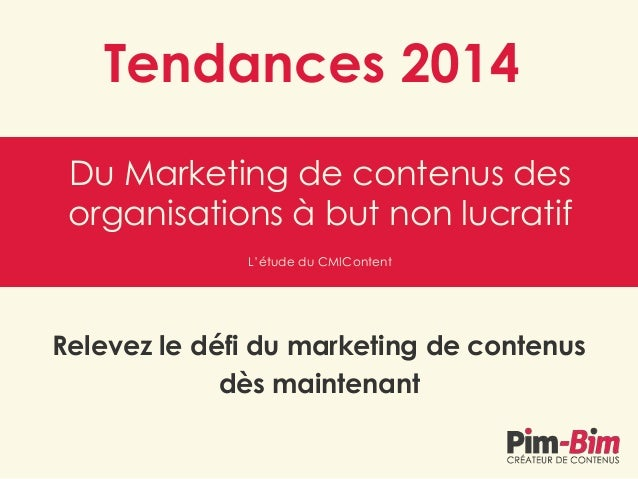 Tendances 2014 Du Marketing de contenus des organisations à but non lucratif L'étude du CMIContent  Relevez le défi du mar...