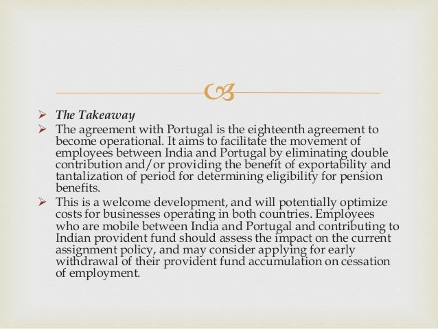 India Agreement On Social Security With Portugal