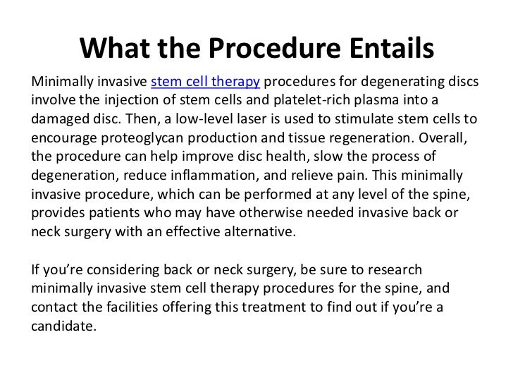 Stem Cell Therapy For Spinal Conditions