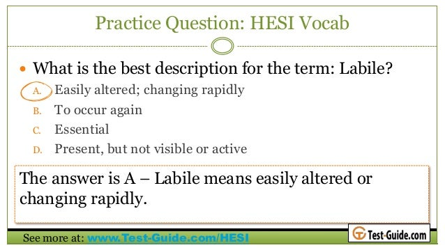 HESI A2 Entrance Exam Practice Test Questions