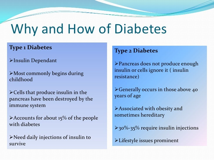 Compare And Contrast Type 1 And Type 2 Diabetes
